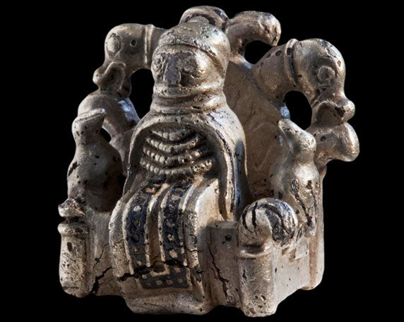 Image of Odin figurine silver statue with ravens and wolves