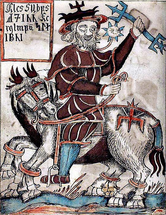 Odin riding on his horse Sleipnir appearing in the Viking jewelry