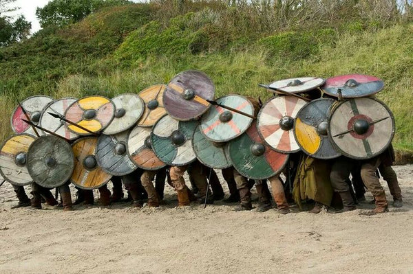 Viking shield wall and Viking spears