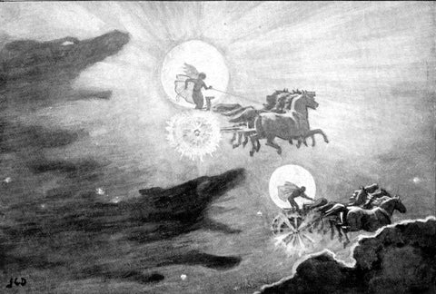 Image of wolves hati skoll chasing moon and sun norse mythology