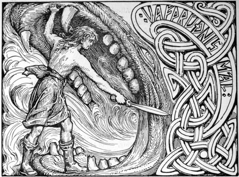 Image of Vidar and Fenrir Norse mythology
