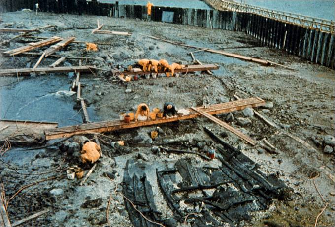Excavation of the Viking ships