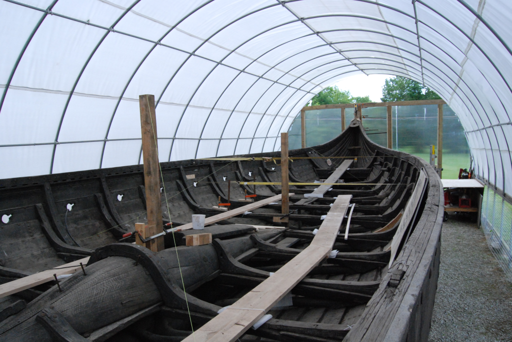Image of the first Viking ship replica in the modern time