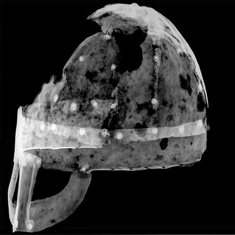 A side of the Viking helmet artifact