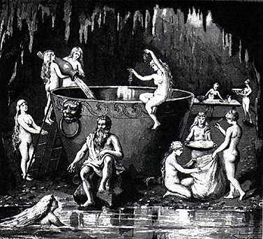 Aegir, nine maidens, and his magic cauldron. Norse gods of water