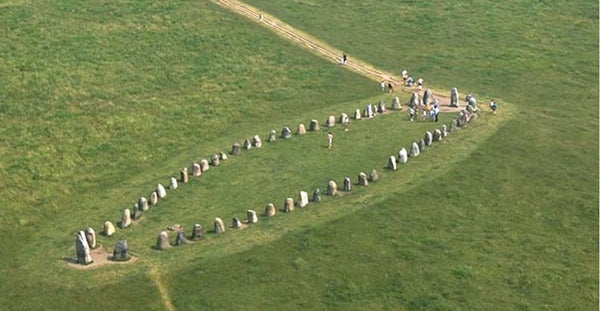 Ale's Stones in Denmark. One of the famous Viking ship stone