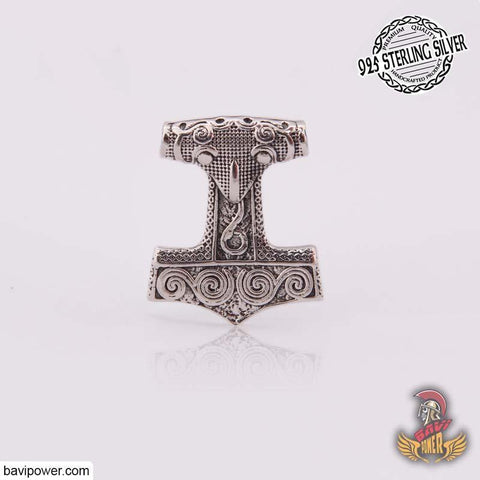 Viking Jewelry Viking Thor Hammer Pendant with Raven odin
