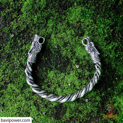 Viking wolf head arm ring/bracelet replica of original Viking wolf head arm ring found in Gotland, Sweden