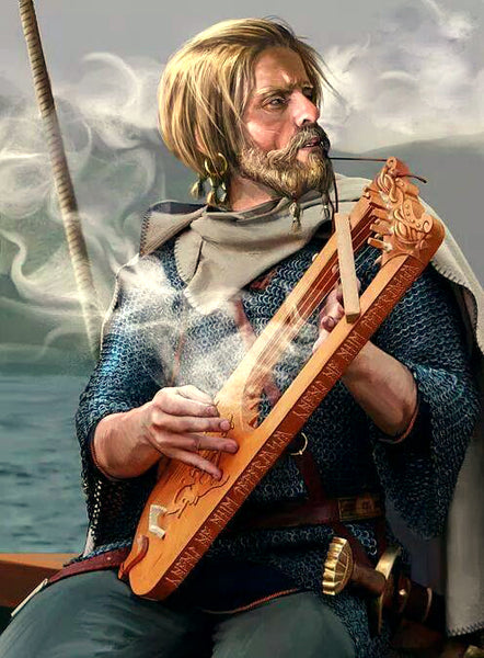 Bragi Norse god of poem and music entertaining fallen warriors in Valhalla