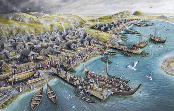 Kaupang reconstruction in Viking Age