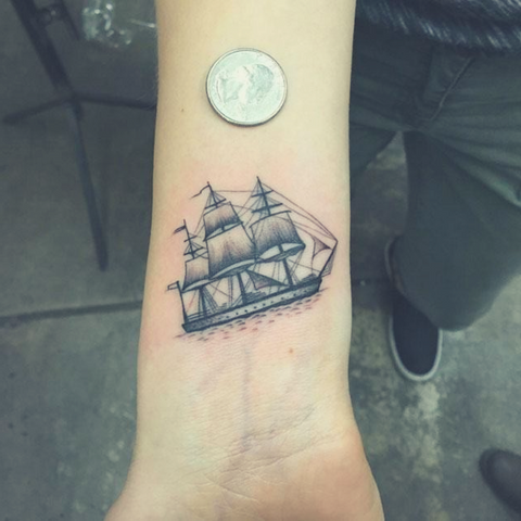 Image of small Viking tattoo Viking ship tattoo