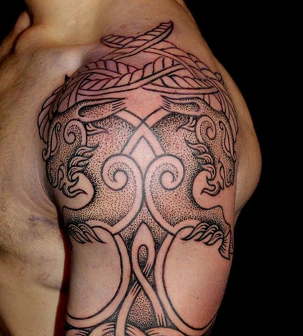 Image of Viking goat tattoo