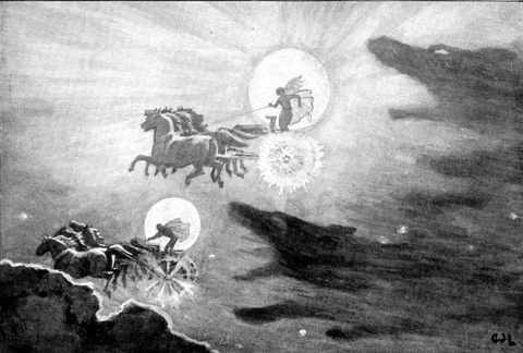 Image of norse wolf swallowed sun and moon