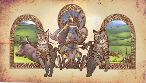 Image of chariot of Freya viking goddess of war and love