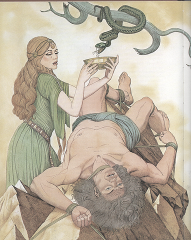 Image of Loki punishment Norse mythology