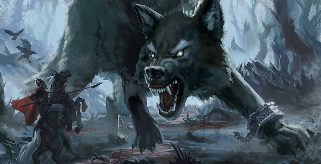 Image of Odin vs Fenrir in Ragnarok
