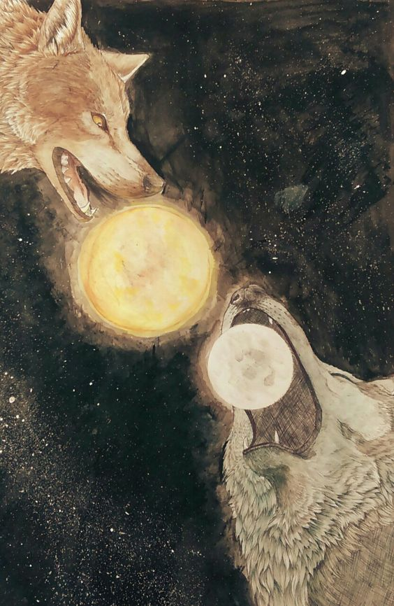Image of Hati and Skoll chasing Moon and Sun