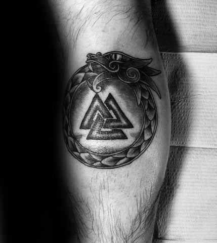 Image of Valknut and Ouroboros tattoo