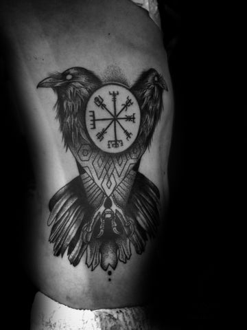 Image of Vegvisir viking compass tattoo with raven