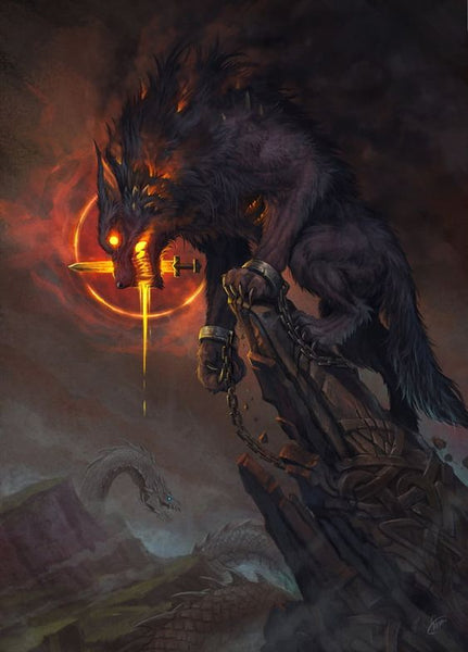 Fenrir the Wolf in Norse mythology was the enemy of Odin the Allfather