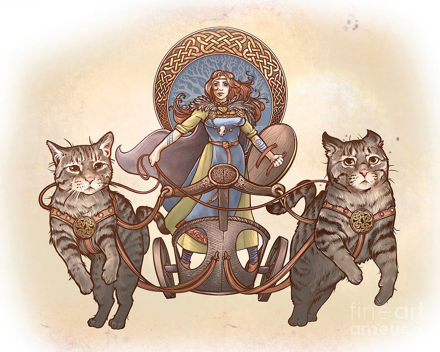 Image of goddess Freya and her chariot pulled by cats
