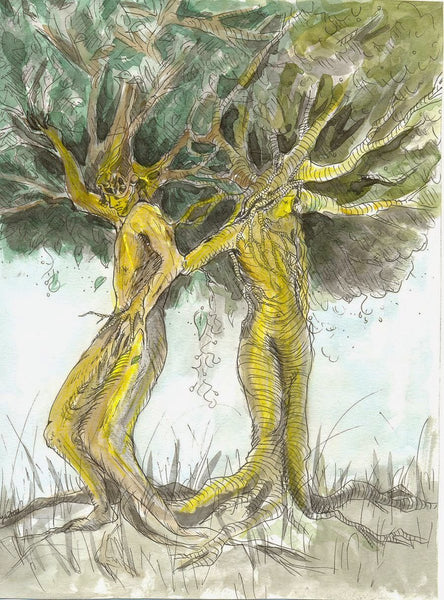 Ask and Embla were created by the Gods when they accidentally came across two tree trunks on the shore