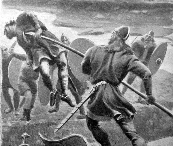 Gunnar stabbed his enemy with atgeir lifting him above the ground and hurling him into the river