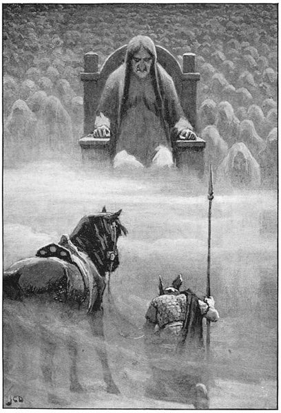 Hermod and Hel the Queen of the Dead in Norse mythology