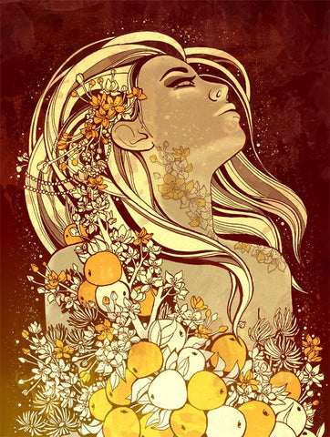 Idun the guardian of youth fruits in Norse mythology