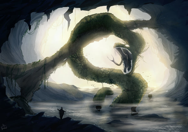 Jormungand the Midgard Serpent in Norse mythology