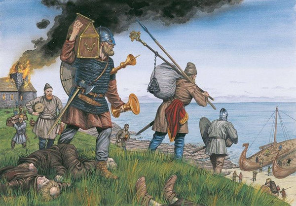 Viking attack on Lindisfarne the Holy Island of Northumbria in the 8th century