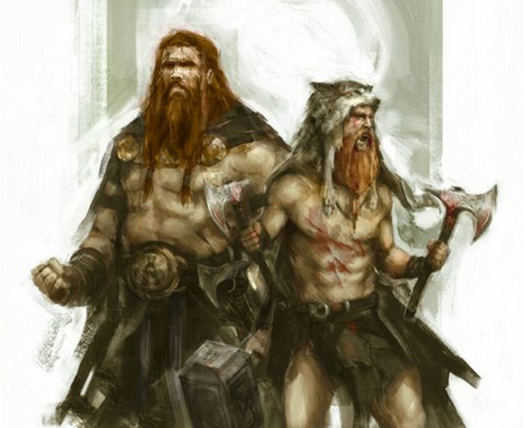 Magni and Modi were the sons of Thor. They inherited the Mjolnir hammer after Thor fell in battle