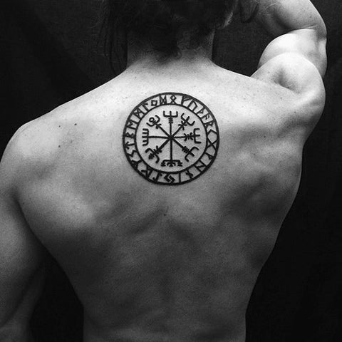 Image of Vegvisir tattoo in back