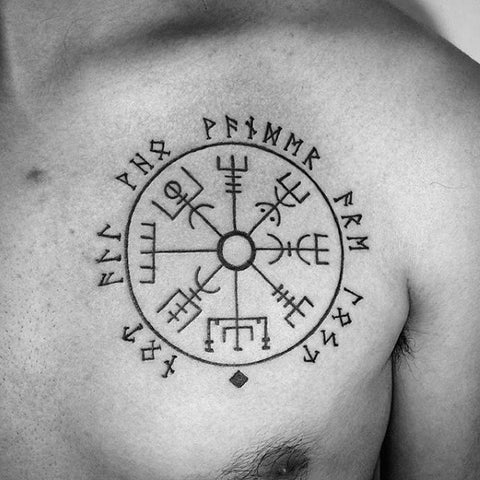 Image of Vegvisir tattoo with runes
