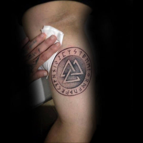 Image of Viking valknut tattoo with runes