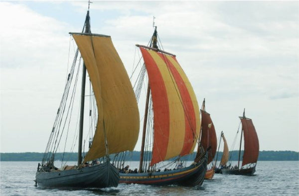 Viking ship replica. Reconstruction of five Skuldelev Viking ships
