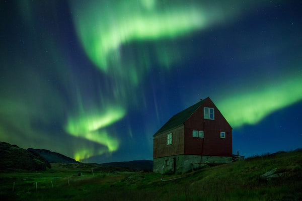 The northern light in Greenland. Greenland was named by Erik the Red a Viking warrior and a Norse settler