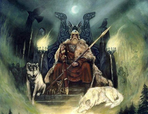 Odin viking supreme god on his throne in Asgard to observe the Nine Worlds below