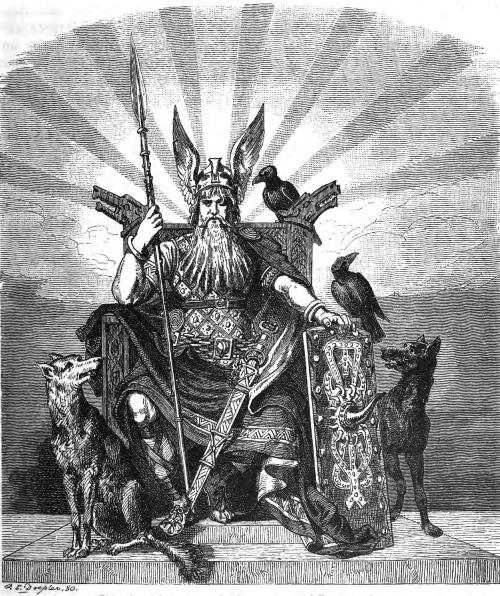 Odin on the High Throne with the winged helmet by Doepler