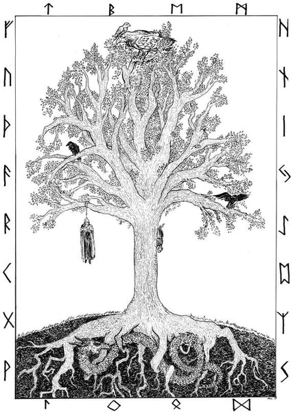 Odin on Yggdrasil tree of life