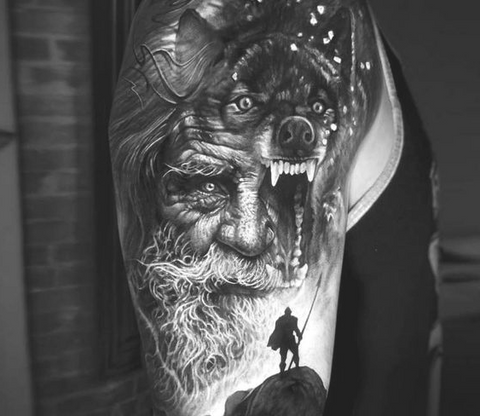 Odin the Allfather tattoo. Viking tattoo of Odin. Odin was the chief god in Asgard