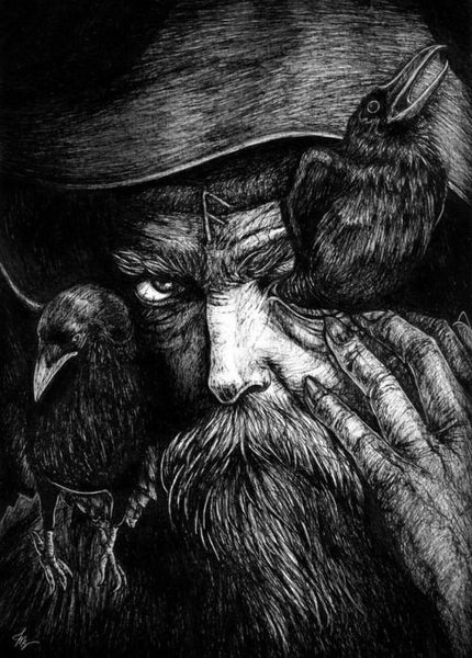 Odin the Allfather and Huginn and Muninn. Odin was not the chief god of Norse Pantheon from the beginning