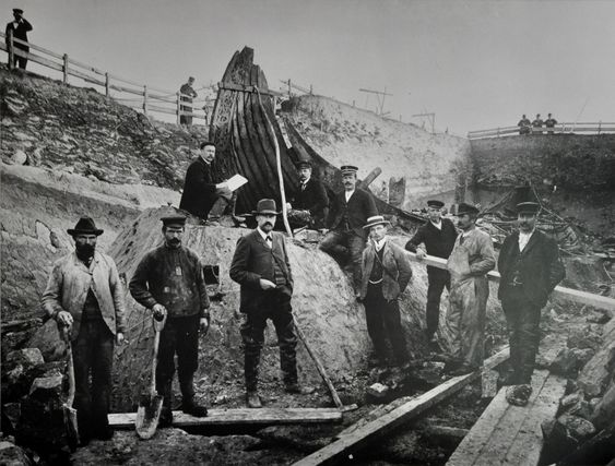 The excavation of Oseberg ship Viking ship