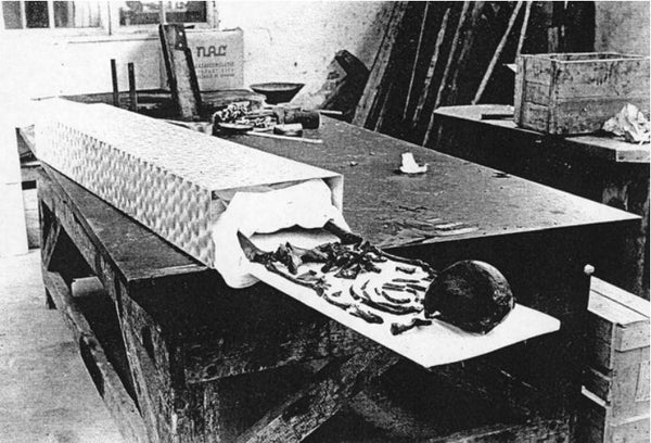 The skeletons of the woman inside the Oseberg burial grave