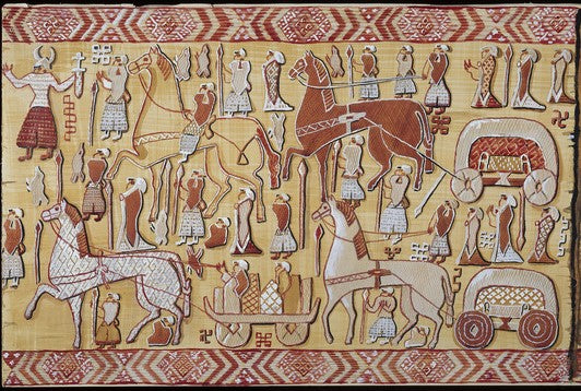 Viking Oseberg tapestry depicting a Viking ritual
