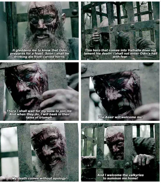 Ragnar's death. When the old boar suffered. He hummed the death song when Odin was welcoming him to Valhalla to feast among the Aesir gods
