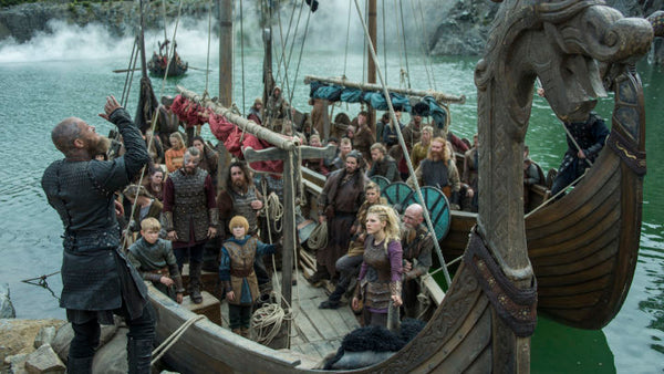 "Ragnar Lothbrok and crew on ""Vikings"" TV series"
