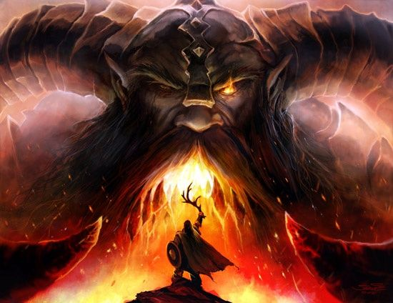 Norse giant Surtr the giant of fire in Norse mythology