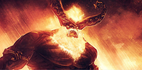The giant Surtr was the ancient giant of fire. In Ragnarok, he wielded his blazing sword to set the whole world on fire.