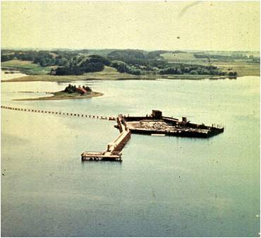 The cofferdam where the archaeologists excavated the Skuldelev ships